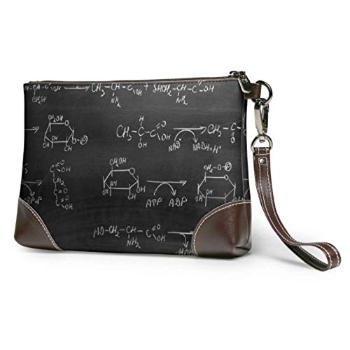Leather clutch Soft Waterproof Clutch Purse Leather Chemistry Science Formula Cosmetic Clutch Travel Bag With Zipper For Women Girls