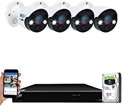 GW Security 8 Channel 8 Megapixel AI Recognition/Person/Vehicle Detection 4K Security Camera System, 4 UHD 2160P 4K 2-Way Audio Floodlight Color Night Vision IP PoE Bullet Cameras