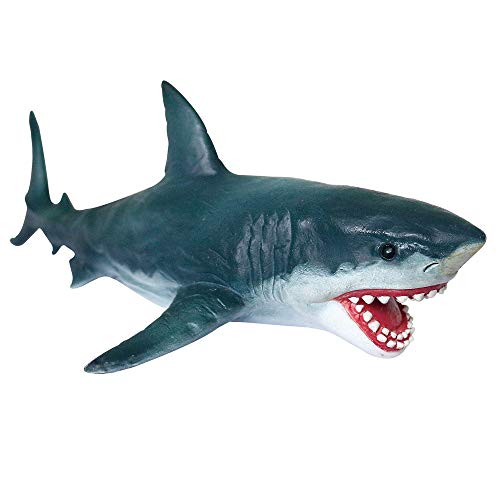Gemini&Genius Sea Life Great White Shark Action Figure Megalodon Shark Model Toy Soft Rubber Realistic Ocean Shark Educational and Role Play Toys for Kids and Collectors ( Great White Shark)