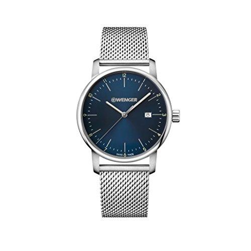 Wenger Herren Analog Quarz Uhr mit Edelstahl Armband 01.1741.115