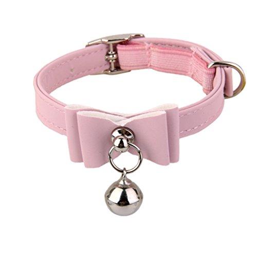 Einstellbar Haustier Katze Kragen Katzenhalsband Halsband mit Bell Pink