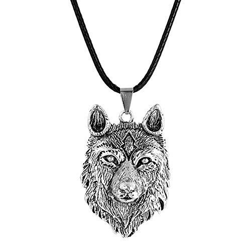 HHW Collana Totem animale retrò Europea e Americana personalità prepotente collana Testa di Lupo vichingo ciondolo Totem uomo e Donna