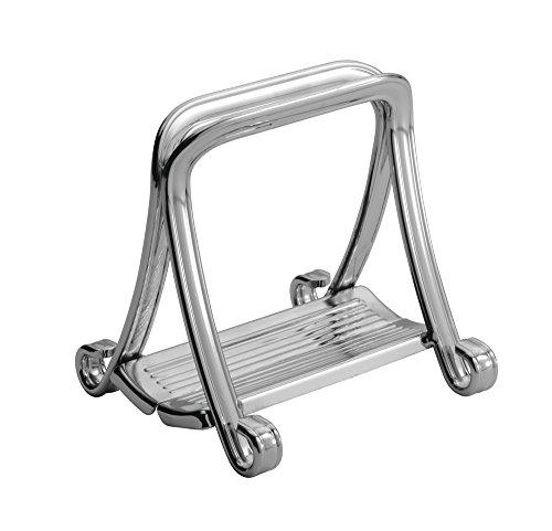 iDesign York Lyra Serviettenhalter | stilvoll in Küche oder Wohnzimmer Servietten aufbewahren | auch als Briefständer auf dem Schreibtisch geeignet | Metall silber