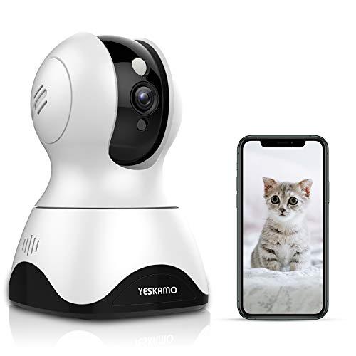 Yeskamo Cámara de Vigilancia Cámara WiFi inalámbrica 1080P, Cámara de Seguridad IP Interior, Audio Bidireccional, Detección de Movimiento, HD Visión Nocturna, Notificación de Alerta