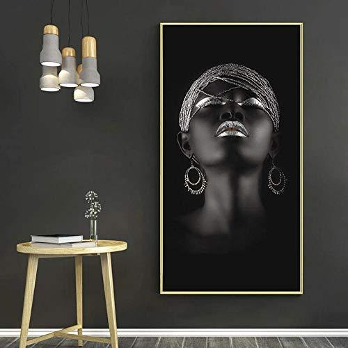 LZASMMVP Manos Negras sosteniendo Joyas de Plata Pinturas en Lienzo en la Pared Carteles e Impresiones artísticos Mujer Africana Imagen artística Decoración de la Pared del hogar 50x100cm Sin Marco