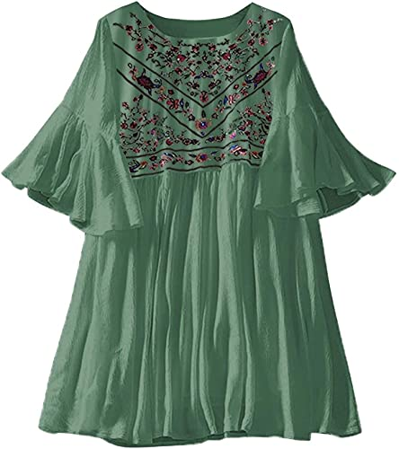 Summer Dresses for Women, Women's Short Sleeve Dress Loose Casual Ethnic Embroidery Dress Flowy Pleated Dress