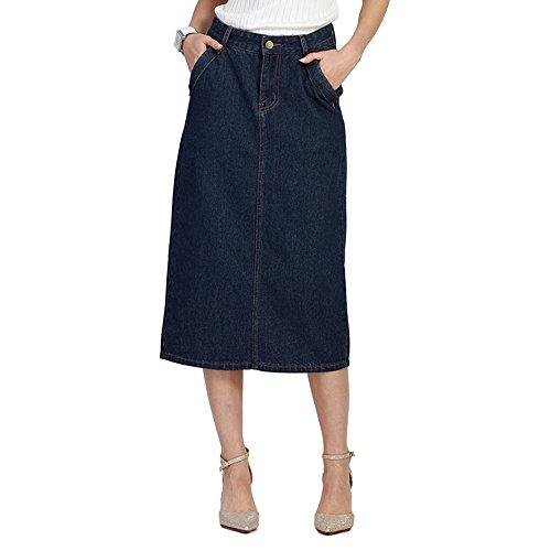 Jade Onlines Women's Basic Casual Plus Size High Waist Denim A-Line Skirt