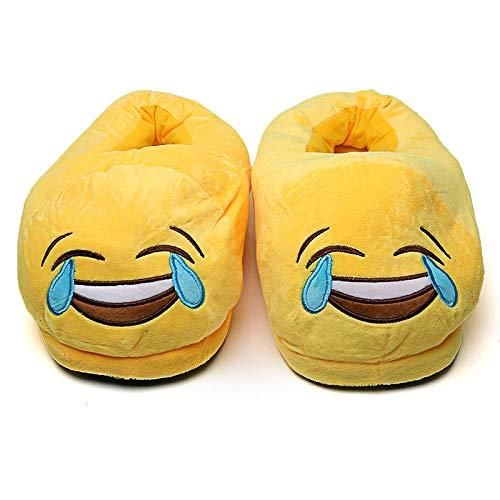 Hausschuhe Slipper Pantoffeln Damen Herren Winter Hausschuhe Frauen Schuhe Warm Soft Indoor Hausschuhe Männer Plüsch Schuhe Cute Funny Home Flats rutschfeste Raumrutschen-Laugh_42