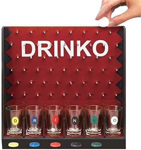 Jilibaba Juego de barra de juegos de fiesta con 6 tazas de cristal y 1 estante novedad regalos