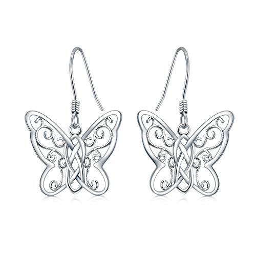 Pendientes de plata de ley 925 con forma de mariposa y nudo celta, regalo de cumpleaños para mujeres y madres