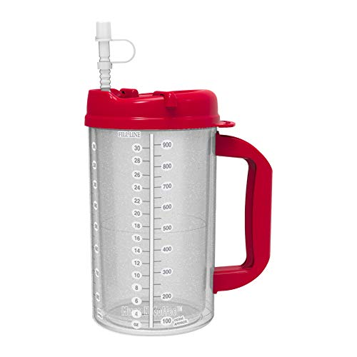 32 oz Red Double Wall Insulated Hospital Mug - Cold Drink Mug - New Swivel Lid Design - Includes 11