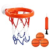 Cyfie Bath Toys for Kids, Bathtub Basketball Hoop & Balls Set for Toddlers Boys Girls, Toddlers Bath Toys Playset with 3 Soft Balls for Office Bathroom Game Indoor Outdoor Use