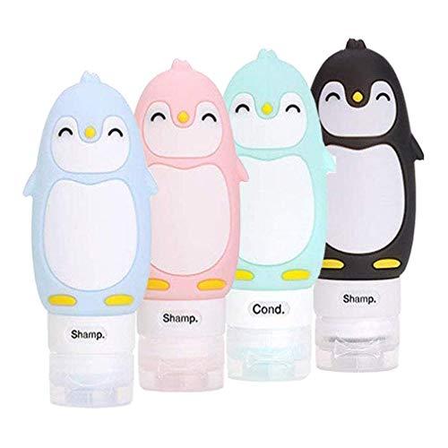 4 Stück Pinguin Silikon Reise Flaschen Set - BPA-frei und TSA-Airline Genehmige Reiseflaschen - Reisebehälter mit Etikett für Shampoo/Duschgel/Kosmetik Flüssigkeit (90 ml)