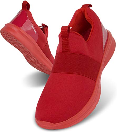 Uomo Scarpe da Corsa Sportive Ginnastica Palestra Casual Tennis Fitness Trekking Passeggio Sneakers Comode Slip on Basse Scarpe Rosso 44 EU