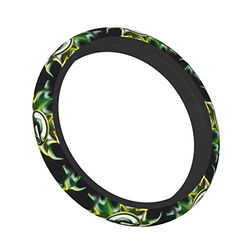 Team ProMark Green Bay Packers Steering Wheel Cover,American Football Design,Elastic Breathable Car Wheel Covers Protector for Men Women,Odorless 15inch