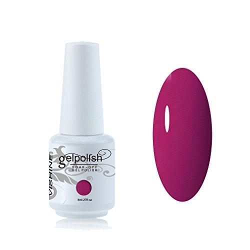 Vishine 8ml Vernis à Ongles Gel Semi Permanent UV LED aux 298 Couleurs Divers pour Nail Art Manucures Fuchsia Rose #087