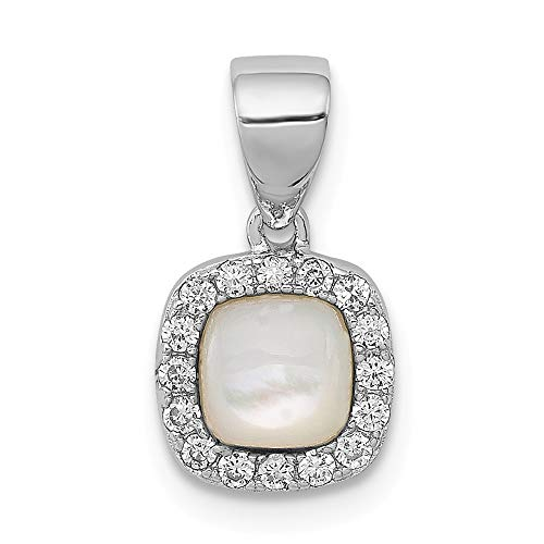 925 Sterling Silver Mother Of Pearl Cubic Zirconia Cz Square Pendant Charm Necklace Natural Stone Fine Jewelry For Women Gifts For Her