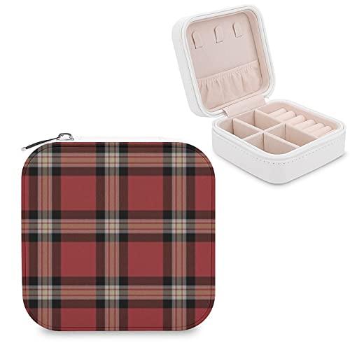 Organizador de joyas de viaje para niñas, mujeres, regalo, a cuadros, con acento de tartán para sofá, estuche de almacenamiento portátil para anillos, pendientes, collares