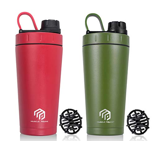 Stainless Steel Insulated Protein Shaker Bottle/Protein Shaker/Shaker Cup/Shake Mixer Bottle/Protein Mixes/Water Bottle/Double Wall/Sweat-Proof/Leakproof/BPA Free/20 oz (2-Pack Red-Green)