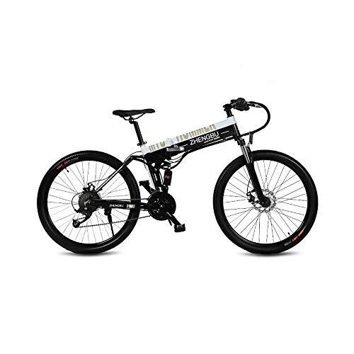 CYYC Velocidad Variable Plegable Impulso Bicicleta Eléctrica Bicicleta De Montaña 48V10Ah Sigilo Batería De Litio 400W Motor-En Blanco Y Negro