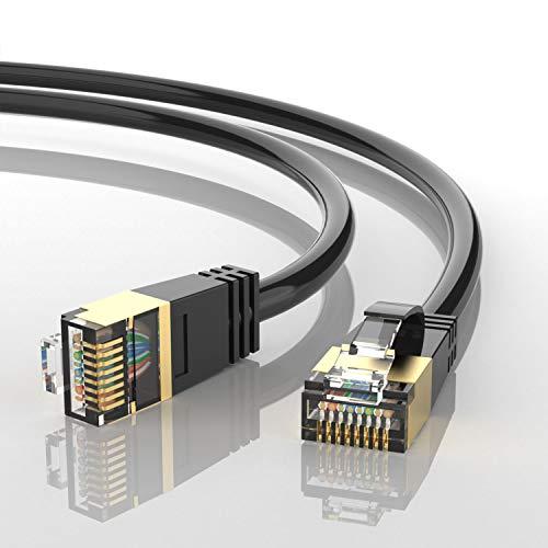 AUCAS Cable Ethernet Cat 8, conectores RJ45 Eben 32AWG Cat8, cable de red de alta velocidad para juegos, PS4, Xbox One, módem, router de PS3, PC, Mac, módem, juegos (5 m)