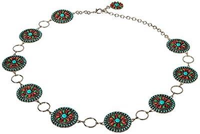 Nocona Belt Co. Women's Multi-Color Concho Link Belt, silver, Extra Large