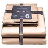 Colorado Home Co - Mulberry Silk Sheets 4pcs - 100% Silk Luxury Bedding Set Queen - 22 Momme - Deep Pocket Fitted Sheet, Flat Sheet, Silk Pillowcase Set of 2 - Champagne Caramel