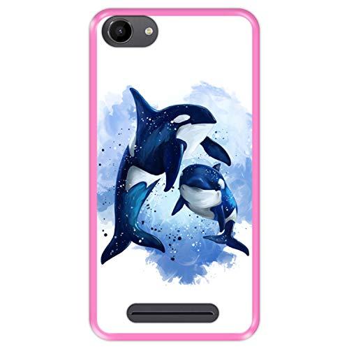 Hapdey silikon Hülle für [ Wiko Jerry - Lenny 3 - K-Kool ] Design [ Tierwelt, Ballenas ] Rosa Flexibles TPU