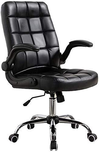 Silla de oficina en casa con función de inclinación, silla de estudiante, reposabrazos en movimiento, cojín de cuero sintético, cojinete de 120 kg (color: marrón) SHIYUE (color: negro)