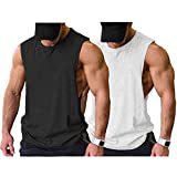 COOFANDY Mens Workout Tank Tops 2 Pack Gym Muscle Tee Sports Sleeveless T Shirt