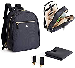 Small Baby Backpack Diaper Bag - Idaho Jones - Claremont | Hold What You Need, Back Pain Free, w/ Durable, Easy-Wipe, Compact Baby Bag, Stroller Straps, Changing Pad | Luxury Design, Black