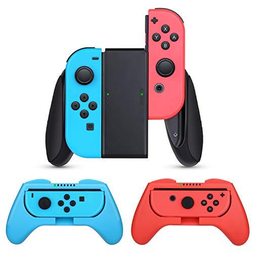 HEYSTOP Compatible avec Nintendo Switch et Switch OLED Grips 3 Pièces, Manette Switch Coque de Protection Contrôleur Jeu Poignées Kit Compatible avec Nintendo Switch Grip, Rouge et Bleu