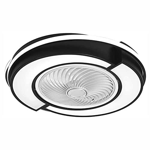 JZlamp Ventilador de Techo de 58 cm / 23 Pulgadas con Luces Moderno Control Remoto LED, 3 velocidades Hoja Oculta Lámpara de fachada Cerrada, para Dormitorio