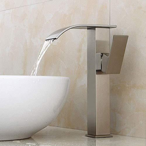 Kupferdraht Zeichnen Waschbecken Wasserhahn Top Waschbecken mit hohem Wasserhahn Wasserfall Kalt- und Warmwasser Mischbatterie WC-Spüle Wasserhahn quadratisch Einzelgriff