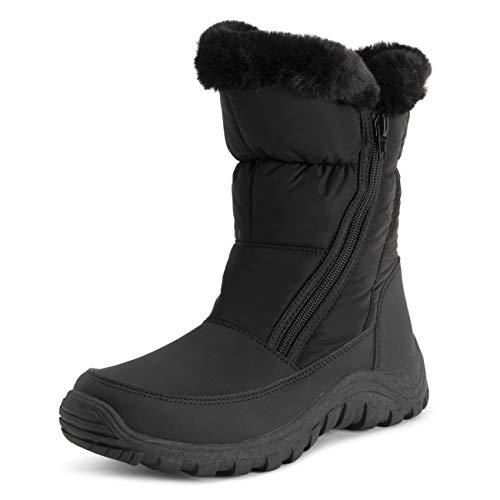 POLAR Womens Memory Foam Twin Zip Opening Pull On Nylon Waterproof Thick Faux Fur Lined Winter Rain Snow Boots - Black - EU43/US12 - YC0663