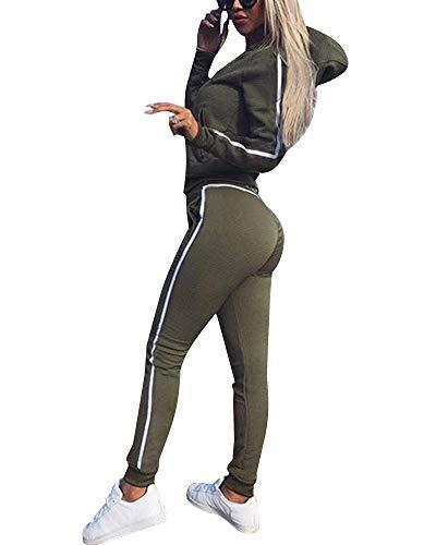 Tomwell Damen Mode Streifen Trainingsanzug Frauen Lange Ärmel Zipper Top + Lange Hose Sportswear 2 Stück Set Sport Yoga Outfit A Armeegrün DE 44