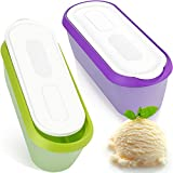 2 Pieces Ice Cream Storage Containers with Lids Set 2.5 Quarts Homemade Ice Cream Tubs, Cream Tub Reusable Container With Non-Slip Base Freezer Containers, Green and Purple