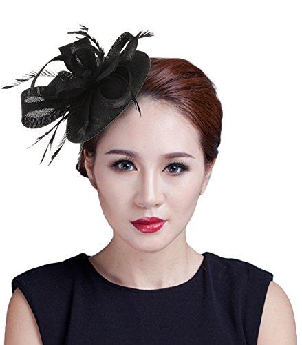 La Vogue Mini Chapeau De Cérémonie Mariage Accessoire Cheveux Bibi Plume Femme Noir