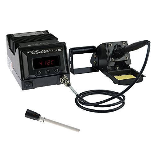 Aoyue 937+ Pro Series 45 Watt Programmable Digital Soldering Station-ESD Safe, C/F Switchable, Configurable Iron Holder, Spare Plug-in Heating Element