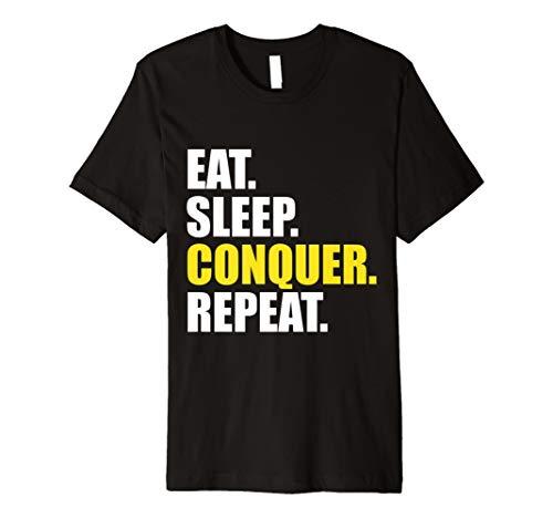 Conquer T-Shirt Eat Sleep Repeat Gym Workout für Frauen Herren