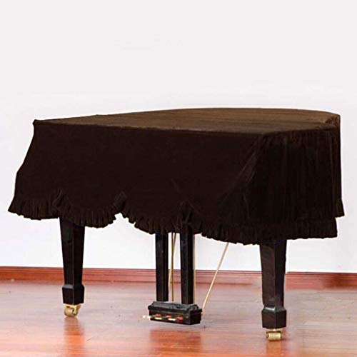 Grand Piano Cover, Classic Premium Samt Möbel Staubschutz Handgemachte Plissee Trim Standard-Klavier-Abdeckung Hauptdekoration, (Verschiedene Größen) ( Color : Brown , Size : 180cm+Single Stool )