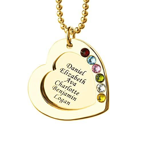 Collar con nombre personalizado Collar familiar Nombre grabado y colgante de corazón con piedra de nacimiento para mujer