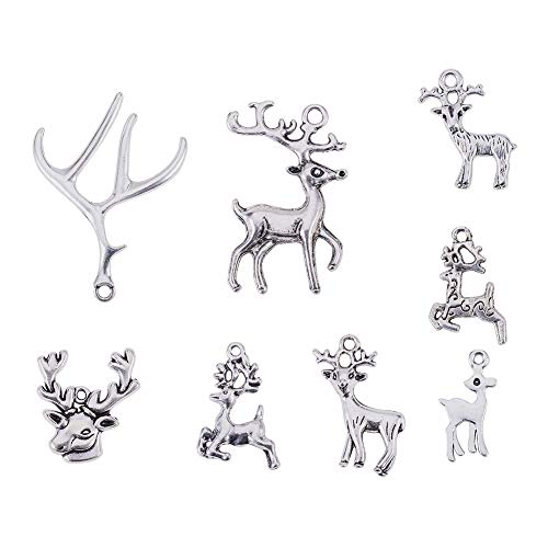 PandaHall Elite 40pcs 8 Style Antique Silver Tibetan Style Alloy Pendants Christmas Reindeer Stag Theme For Jewelry, Keyring,Zipper Decoration Making