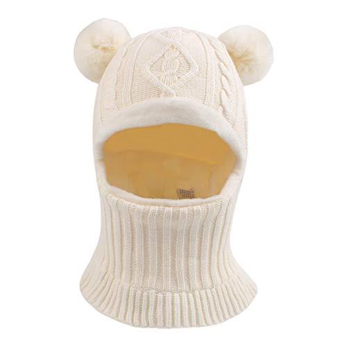 XIAOHAWANG Fille Garçon Bonnet Écharpe Ensamble Chaud Bébé Enfant Hiver Chapeaux Pompon Tricoté Chapeau 1 à 10 Ans(Blanc, S)