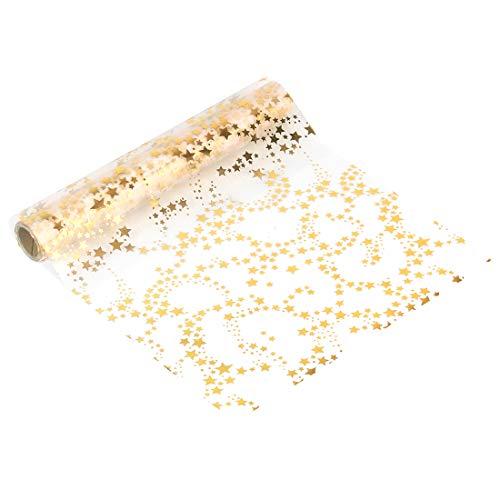 Zaloife Tischläufer Sterne Goldene, Tischband Gold Metallic Organza 28 cm x 5 m, Tischdeko Weihnachten Adventszeit, Deko Weihnachtsfeier