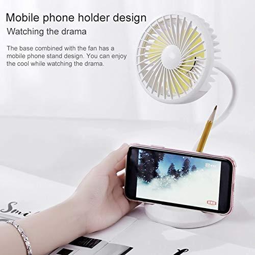 Electric Fans Color : White PIWIDHSKKAHa USB Fans WT-D8 2000mAh 360 Degree Rotation Mini Portable Light Fan with 3 Speed Control/& Phone//Pen Holder Pink