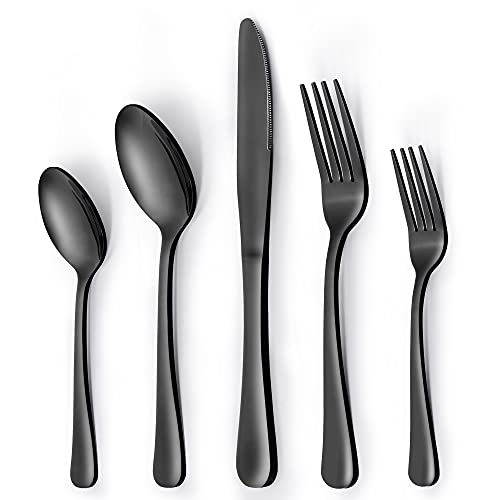 Fun Life Silverware Set, Black Silverware Set for 4, 20 Piece Stainless Steel Flatware Set, Knifes and Spoons and Forks Set, Cutlery Set Mirror...