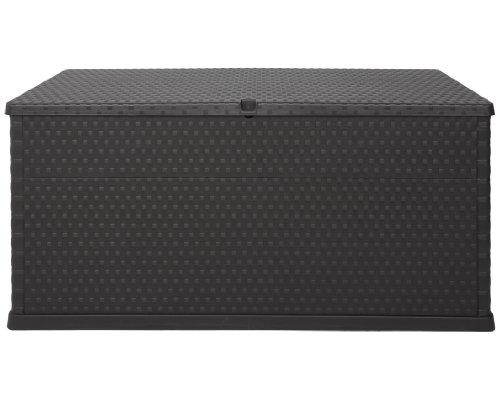 Ondis24 XL Kissenbox Enzo in Rattan Optik Auflagenbox abschließbar Gartenbox beugt Schimmel vor Regensicher mit Rollen