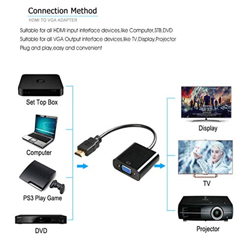 HDMI naar VGA adapter plug naar bus converter adapter 1080P Digital naar analoge video audio voor PC laptop Tablet Mini HDMI naar VGA converter