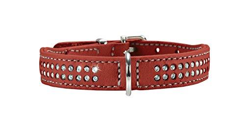 HUNTER DIAMOND ELK PETIT Hundehalsband für kleine Hunde, Leder, Elchleder, weich, Strasssteine, 42 (S-M), chili